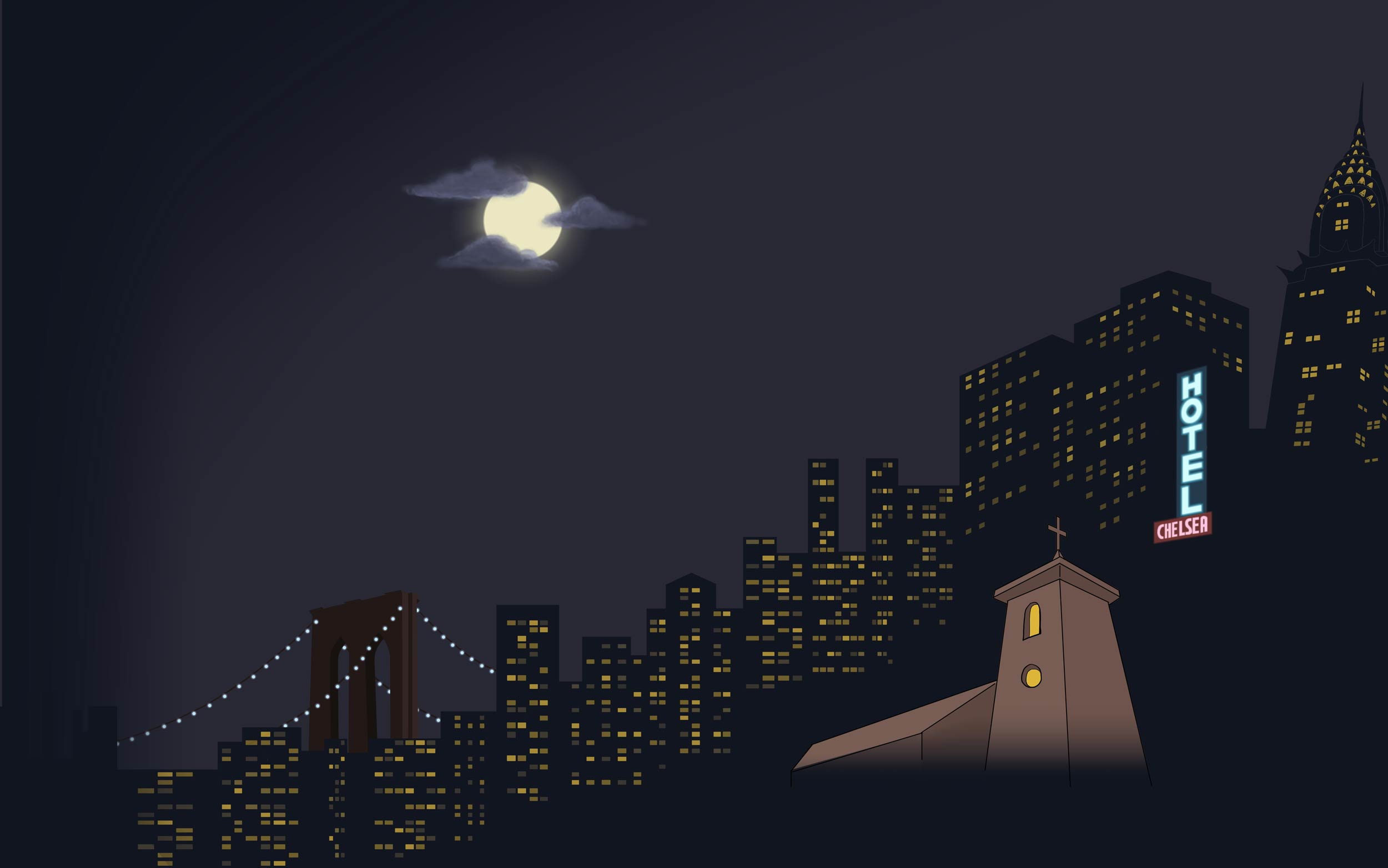 Bedazzled - moon over New York